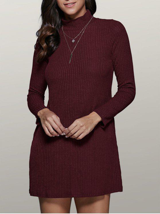 hot Mini A Line Long Sleeve Sweater Dress - WINE RED L