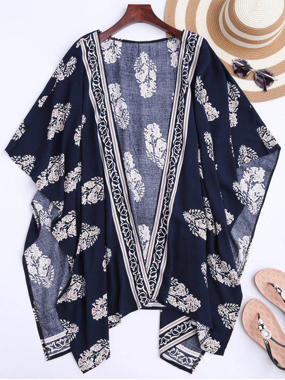 Kragenloser Kimono dünner Mantel mit Blatt Druck - Dunkelblau M