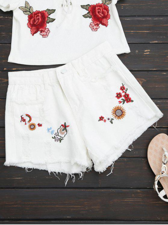 sale Embroidered Frayed Hem Ripped Denim Short - WHITE S