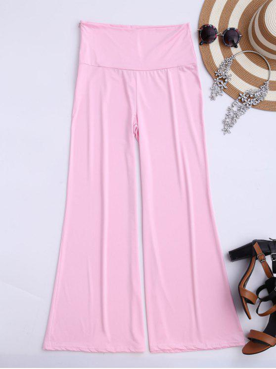 women's Soft High Waisted Palazzo Pants - PINK M