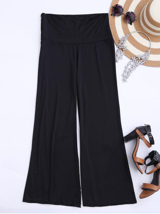 outfits Soft High Waisted Palazzo Pants - BLACK S