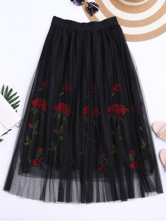 fancy Embroidered High Waisted Mesh Skirt - BLACK ONE SIZE