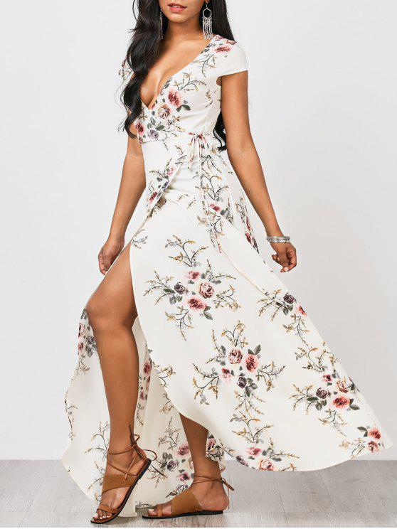 online Floral Cap Sleeve Wrap Maxi Dress - FLORAL L