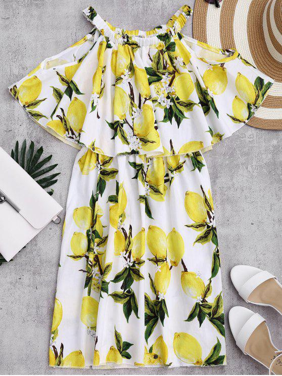 Off The Shoulder Limonin Print Overlay Dress - Blanc M