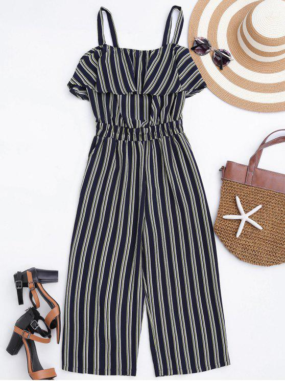 trendy Cami Ruffles Striped Shirred Waist Jumpsuit - STRIPE XL