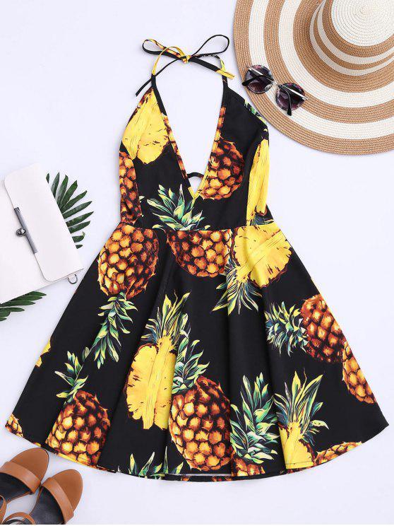 فستان سوينغ طباعة الأناناس الاستوائية رسن - أسود M