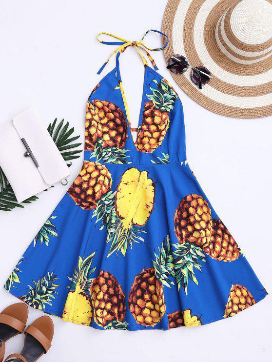 women Tropical Pineapple Halter Swing Dress - BLUE L