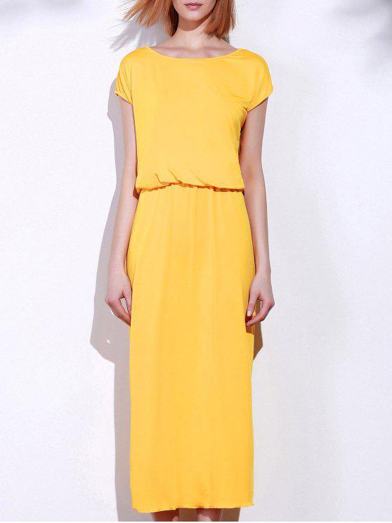 lady Blouson Maxi Dress - YELLOW S
