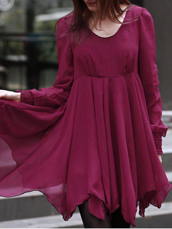 تنورة الملساء بالكمين الطويلين بمادة الشيفون عقدة أشرطة للتزيين - أحمر L
