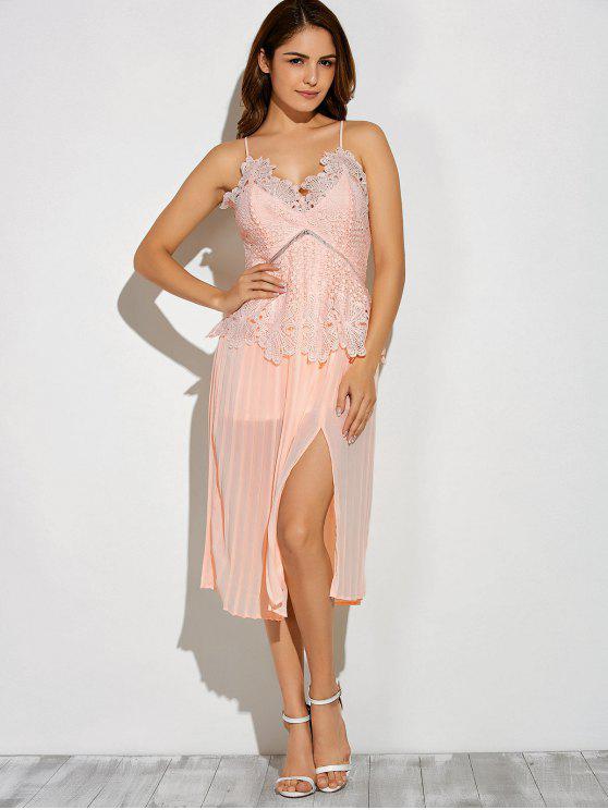 shops Slit Lace Spliced Slip Dress - PINK M