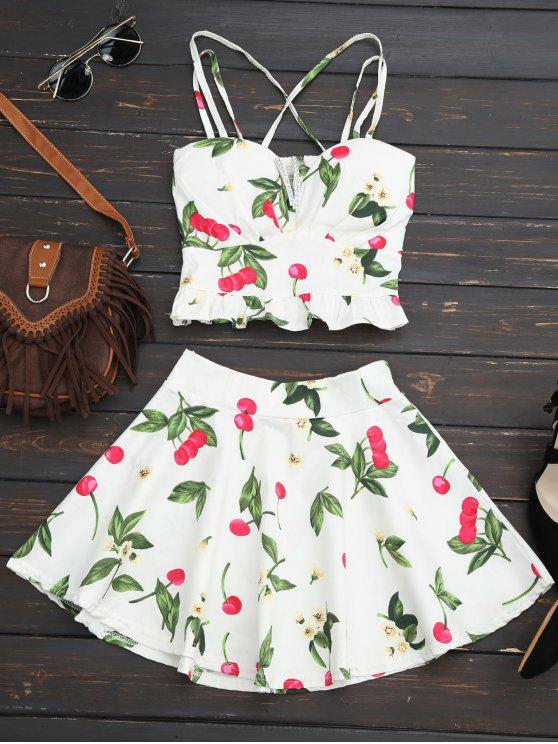women's Cherry Print Two Piece Skater Dress - WHITE ONE SIZE