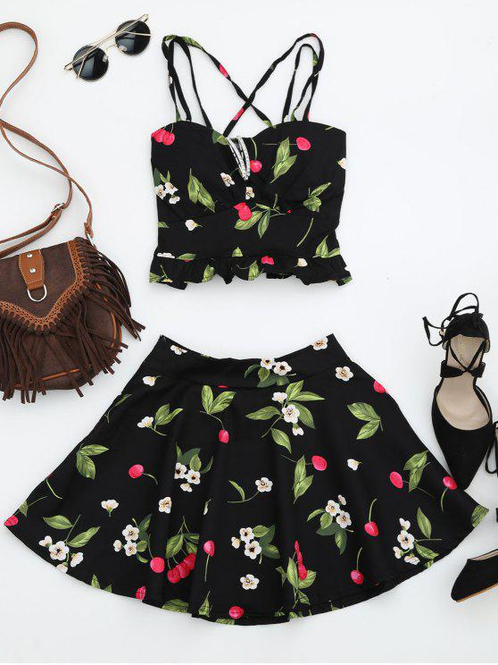 ladies Cherry Print Two Piece Skater Dress - BLACK ONE SIZE