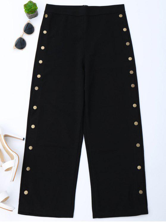 High Waisted Botones Side Gaucho Pantalones - Negro XL