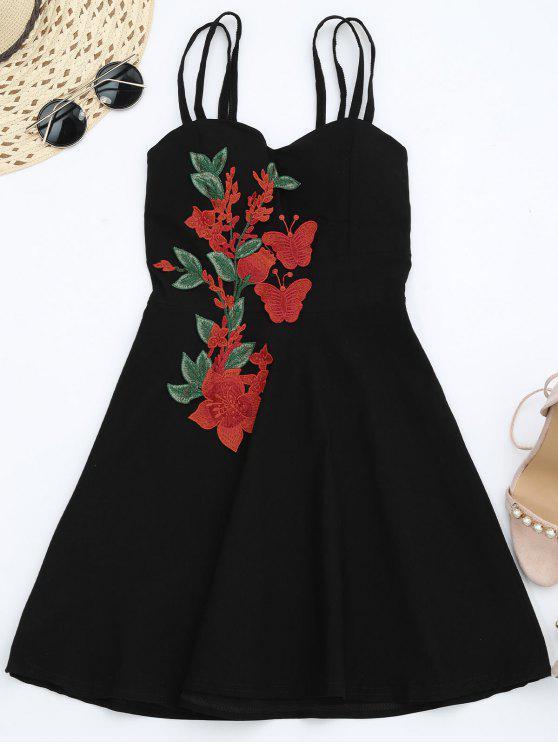 فستان ملائم وتوهج الشريط مصغر - أسود حجم واحد
