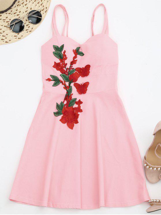 فستان ملائم وتوهج الشريط مصغر - زهري حجم واحد