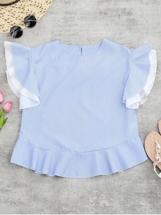 fashion Round Neck Striped Ruffle Sleeve Blouse - BLUE ONE SIZE