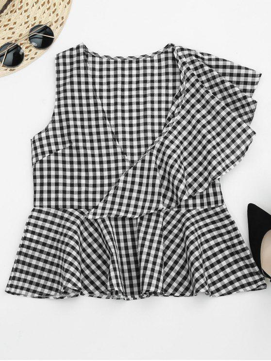 best Asymmetric Ruffles Gingham Peplum Top - WHITE AND BLACK XL