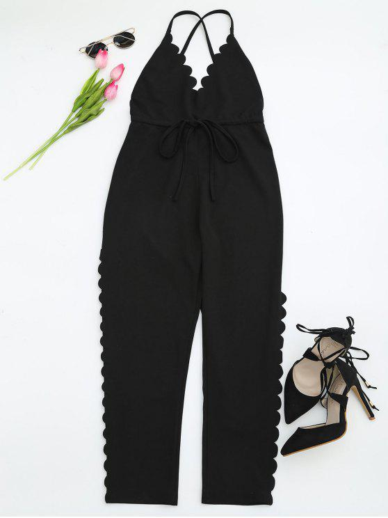 best Scalloped Straight Cut Suspender Pants - BLACK L