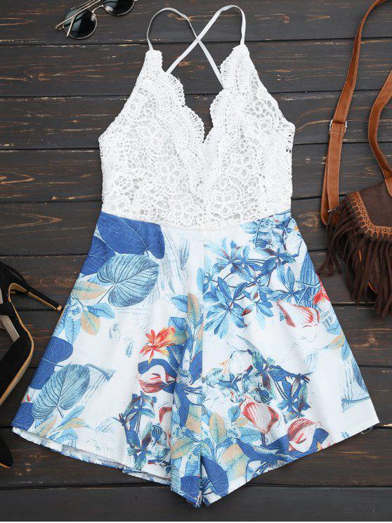 combinaison de plage à dos-nu imprimée en motif tropical - Blanc L