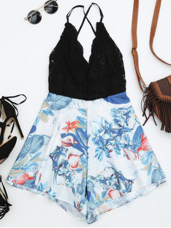 combinaison de plage à dos-nu imprimée en motif tropical - Noir L