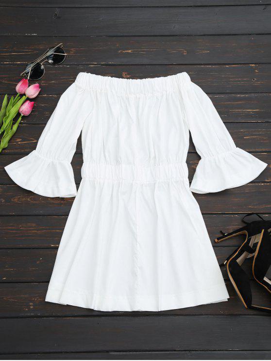 Vestido Fuera del Hombro con Puño Acampanado - Blanco M