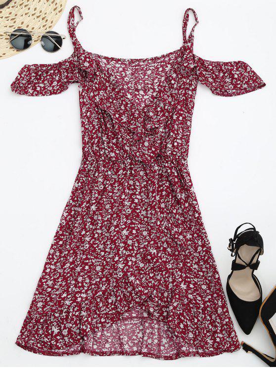 best Tiny Floral Crossover Cold Shoulder Dress - RED M