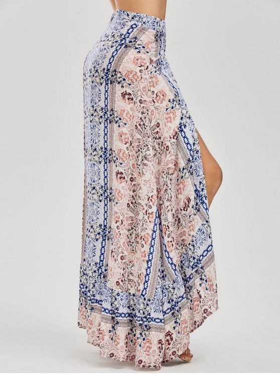 Falda Envuelto Asimético con Estampado - Floral S