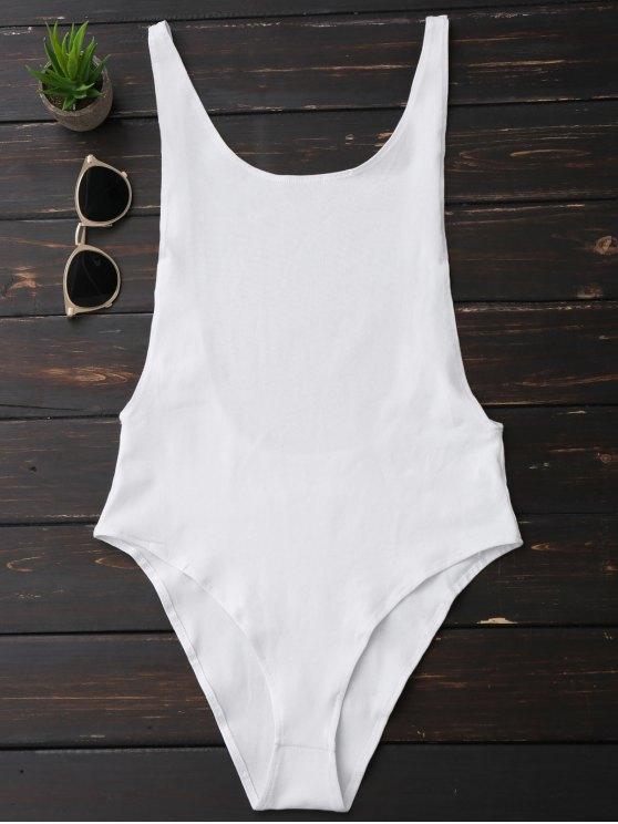 Skinny Sleeveless Backless Bodysuit - Blanco M
