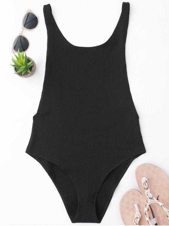 buy Skinny Sleeveless Backless Bodysuit - BLACK S