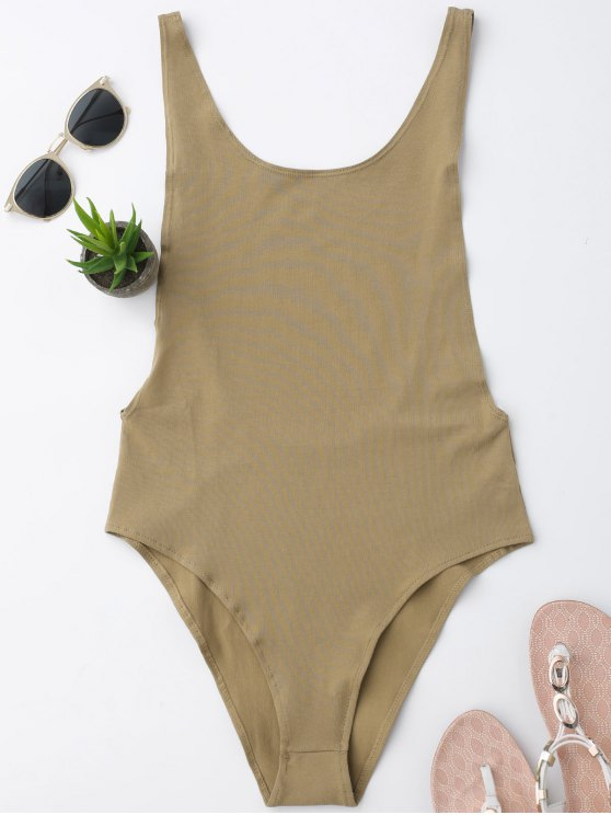 fancy Skinny Sleeveless Backless Bodysuit - KHAKI S