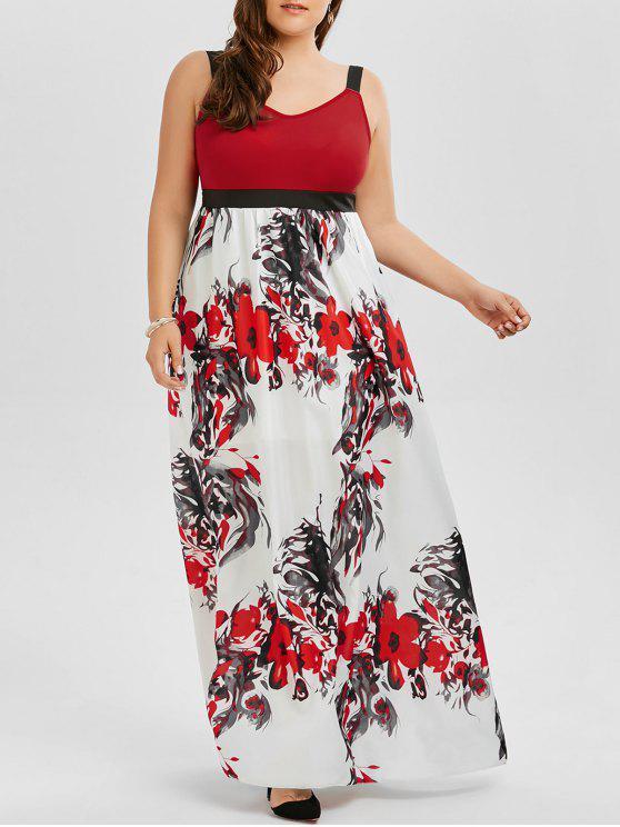 unique Floral A Line Plus Size Maxi Prom Dress - COLORMIX 4XL