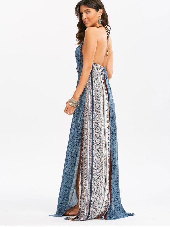 فستان مريح ماكسي عارية الظهر بوهيمي انقسام طباعة - مزيج ملون L