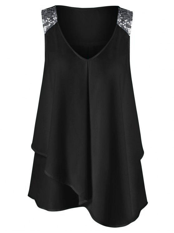 Blouse Superposée à épaules Pailletées Sans Manches Grande Taille - Noir 2XL