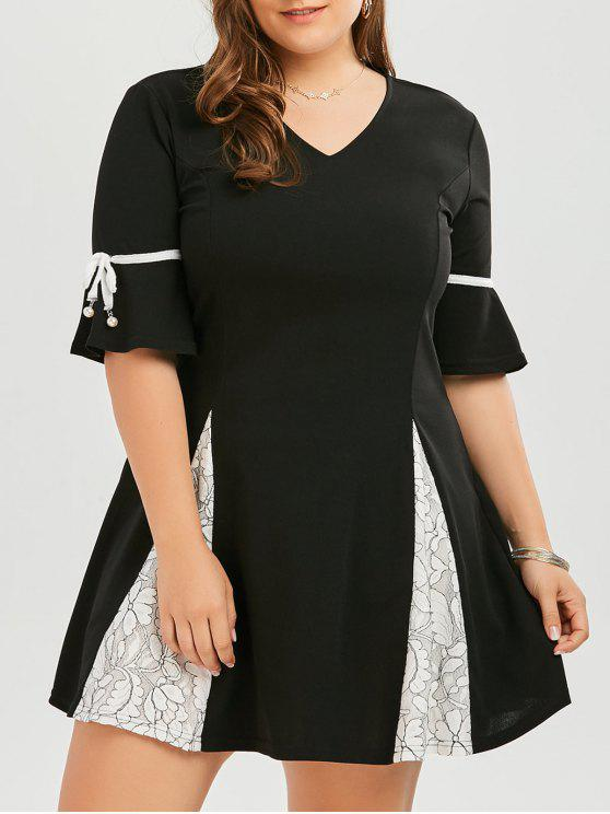 31% OFF] 2019 Plus Size Lace Trim Flare Sleeve Skater Dress In BLACK ...
