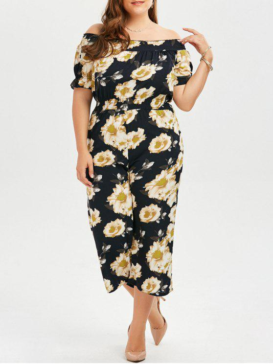 e006c5d8ee Plus Size Floral Off The Shoulder Chiffon Palazzo Jumpsuit - Black 3xl
