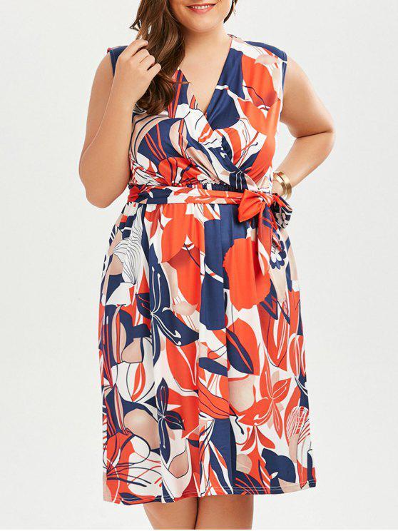 بلا أكمام مطبوعة زائد الحجم فستان سوربليس - متعدد 4XL