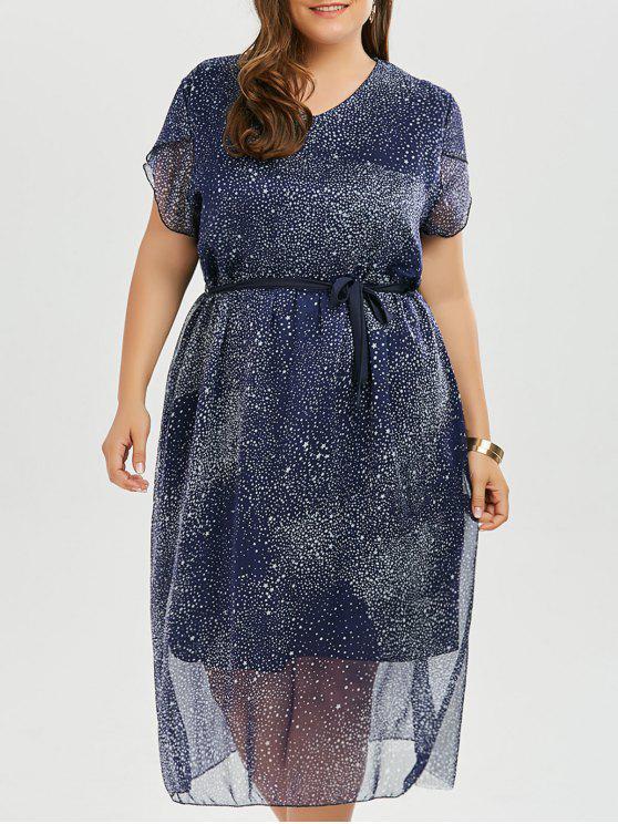 2018 Plus Size Stars Printed Chiffon Flowy Dress In Purplish Blue