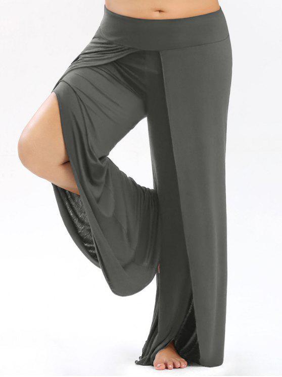 Pantalon Palazzo Grande Taille Avec Fente Haute - gris XL