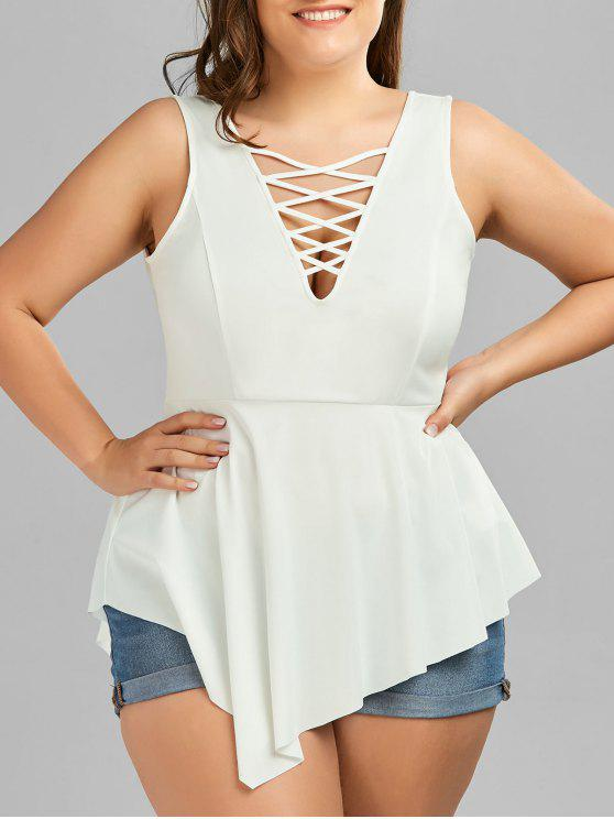 ladies V Neck Crisscross Asymmetrical Plus Size Top - WHITE XL