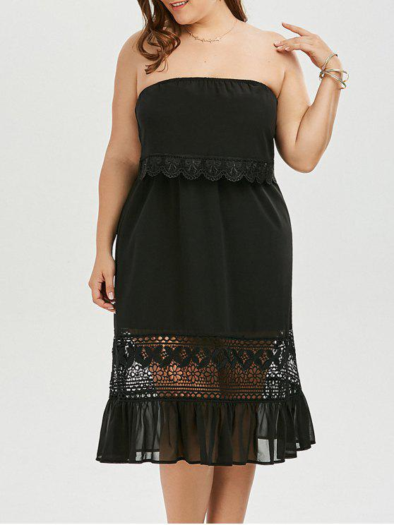 34% OFF] 2019 Plus Size Strapless Chiffon Homecoming Dress In BLACK ...