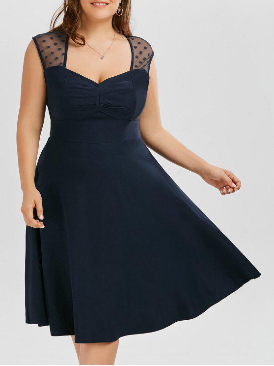 2018 Vintage Mesh Trim A Line Plus Size Dress In PURPLISH BLUE 6XL ...