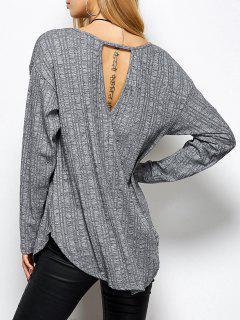 Cuello En V Fotografica Camiseta Floja - Gris S