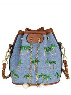 Embroidered Denim Bucket Bag - Light Blue