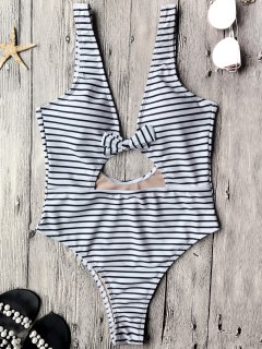 Cut Out High Leg One Piece Swimsuit - White And Black L