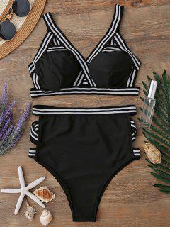 High Waisted Spaghetti Straps Bikini Set - Black Xl