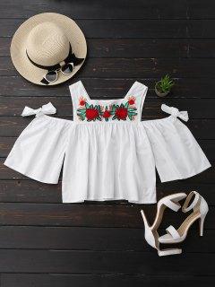 Floral Sequined Cold Shoulder Top - White S