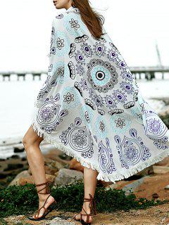 Printed Convertible Round Shape Cape Cover Up - Blue