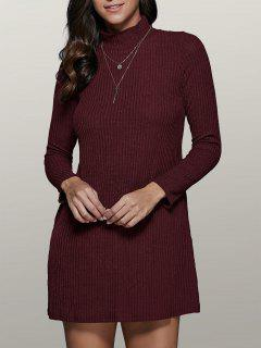 Mini A Line Long Sleeve Sweater Dress - Wine Red S