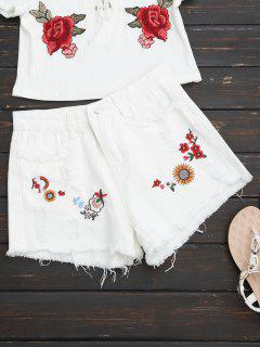 Embroidered Frayed Hem Ripped Denim Short - White L