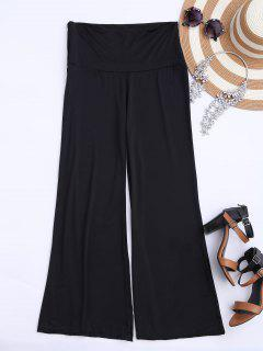 Soft High Waisted Palazzo Pants - Black 2xl